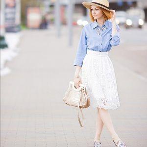 NWT White Crochet Cotton Midi Skirt Medium